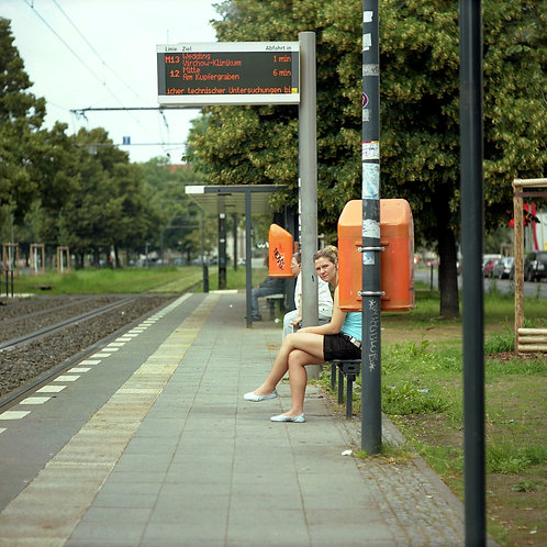 Girl waiting the tramway