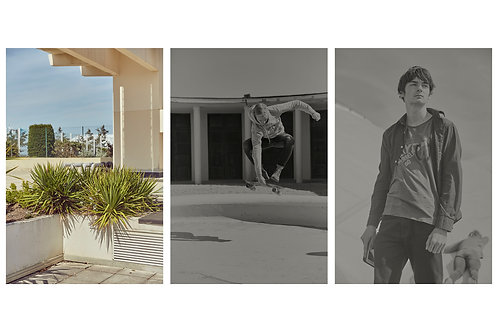 Triptyque Plant at the swimmingpool + Boy with the skateboard #02 + Théo boy #03