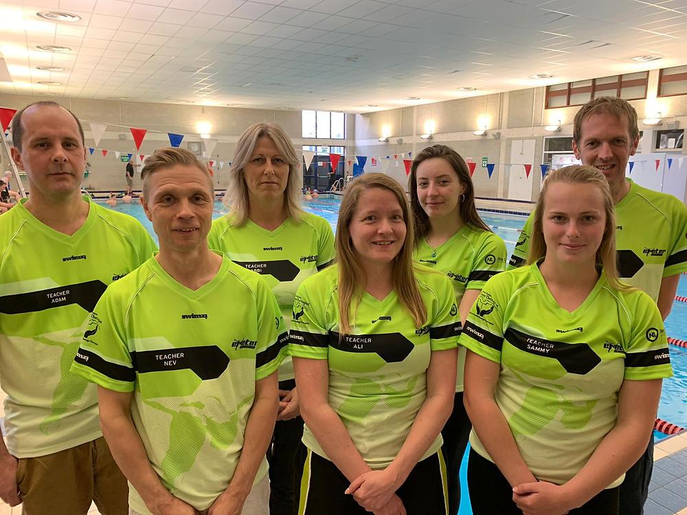 Our Swim School Team - (From L - R) Adam Clarkson, Nev King, Abbi Bloor, Ali Browning, Hannah Jones, Sammy Basham and David Palmer. (Not in photo - James Lovell)