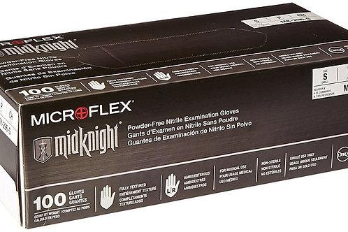 Microflex Midknight Black Nitrile Exam Gloves, 100/Box