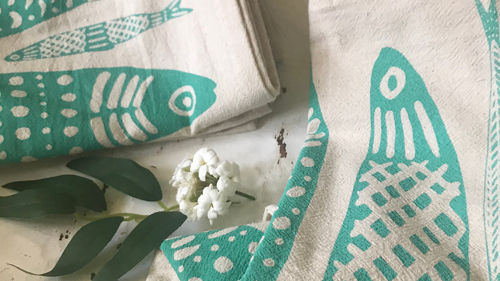 Organic cotton tea towel Sardines