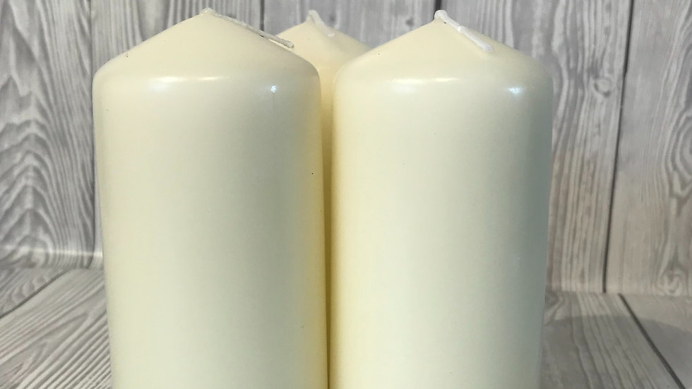 Small Ivory Pillar Candles