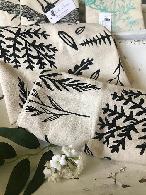 Organic cotton tea towel, Woodland fern