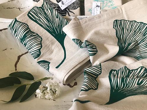 Ginkgo Leaf Organic cotton Tea Towel