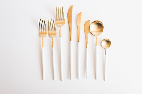 Ashbury Flatware Set White & Gold