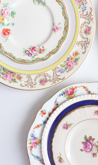 Vintage Mismatched China for Wedding