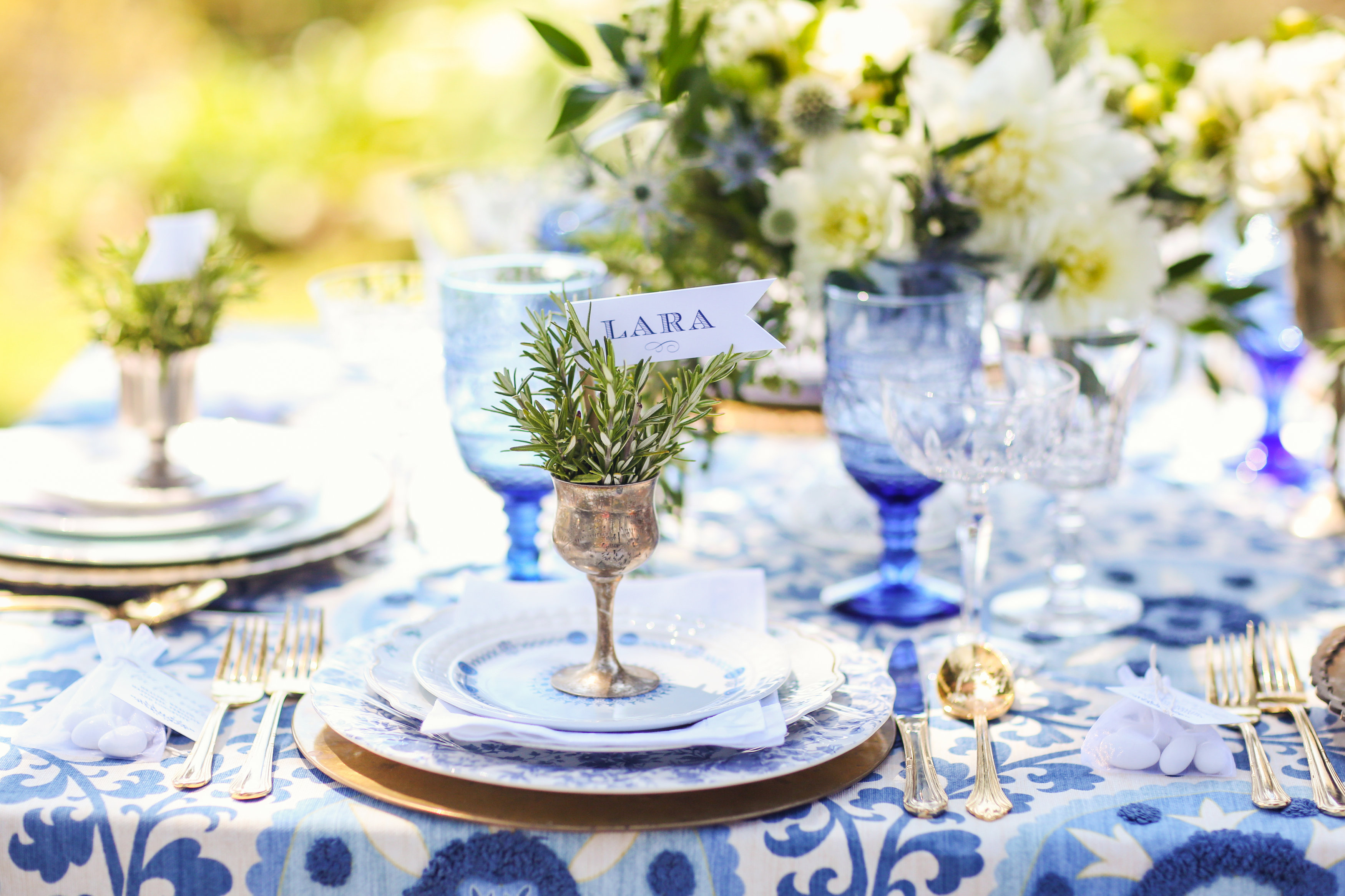 Rent Vintage Blue and White Dishes