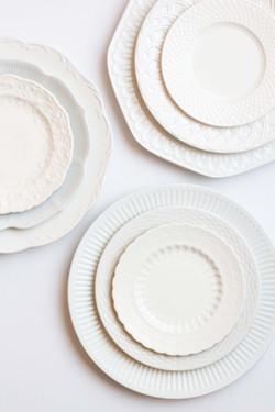 Rent White Vintage Mismatched China