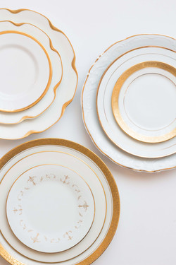 Rent Gold and White Plates for Party