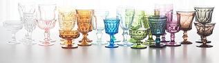 rent colored goblets, rent colored glassware, mismatched colored goblets, vintage goblets for rental, vintage goblet event rental, colored glasses for rent california, colored glasses for rent los angeles, colored glasses for rent santa barbara, rent color
