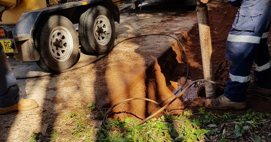 Using vacuum excavator
