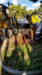 DBYD certified service locator doing a quality level A locate using our vacuum excavator