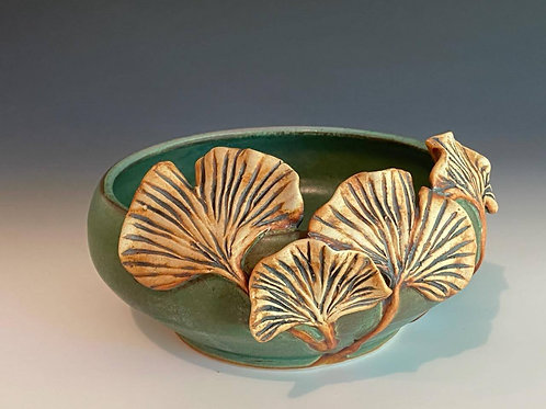 Green Bowl with Ginkgo Leaves by Ruben Ruiz