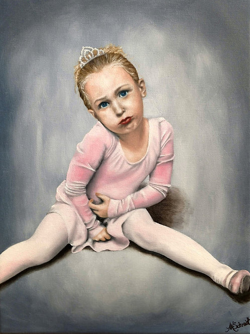 Ready for Dance Class III, Oil Painting by Ashley Koebrick Schmidt