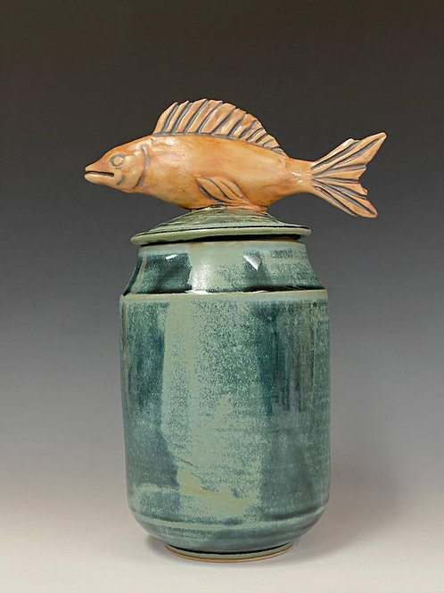 "10"" Tall Lidded Vase with Fish by Ruben Ruiz"