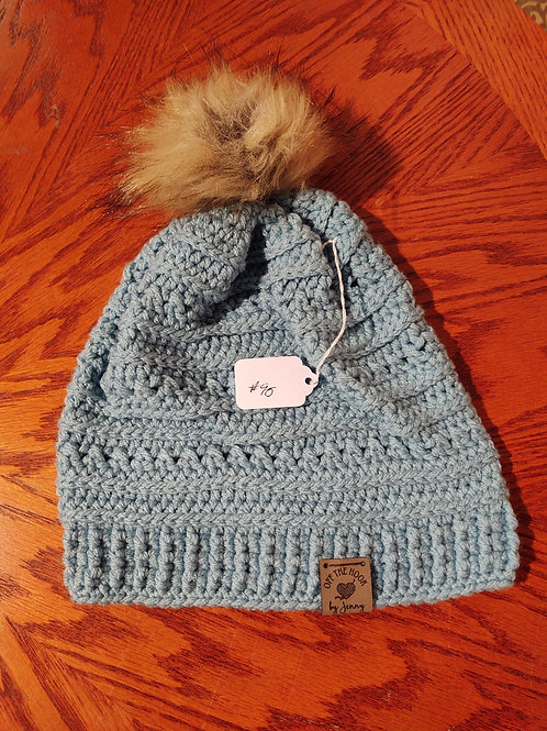 Crocheted Beanie with Fur Pom (teal) by Kathi Fehr