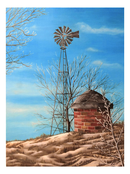 Winter Windmill, Fine Art Print by Ashley Koebrick Schmidt