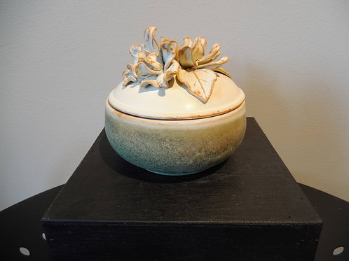 Lidded Container with Flowers by Ruben Ruiz