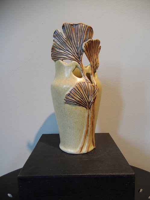 "10 ½ "" Tall Ginkgo Leaves Vase by Ruben Ruiz"