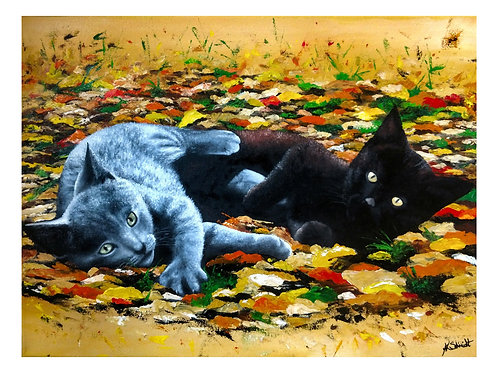 Playful Kittens, Fine Art Print by Ashley Koebrick Schmidt