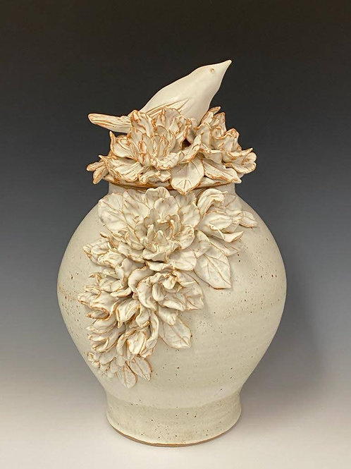 Large lidded Vase with Flowers and Bird by Ruben Ruiz