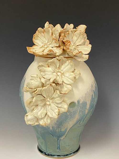 Large lidded Vase with Flowers by Ruben Ruiz