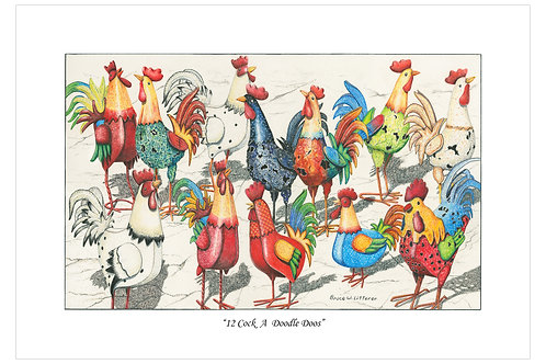 12 Cock a Doodle Doos, Note Card by Bruce Litterer