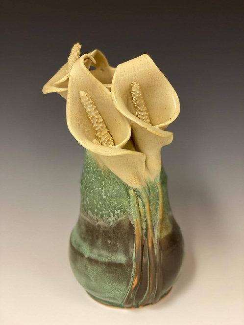 """10"""" Calla lilies Vase by Ruben Ruiz"""
