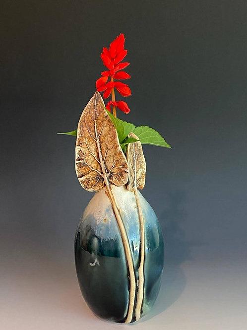 Bottle-Vase with 2 Leaves by Ruben Ruiz