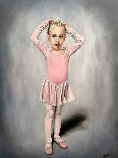 Ready for Dance Class, Oil Painting by Ashley Koebrick Schmidt