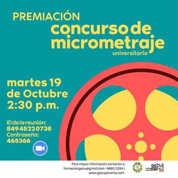 SE ANUNCIARÁN LOS GANADORES DEL CONCURSO DE MICROMETRAJES ESTE 19 DE OCTUBRE, 2021