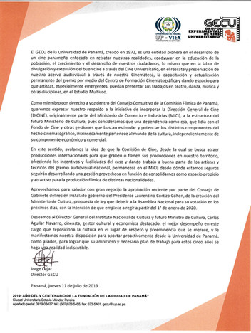 Comunicado GECU, traslado de DICINE al Ministerio de Cultura