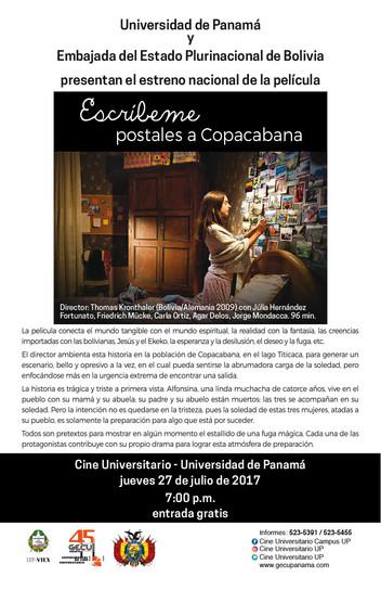 Película Escríbeme postales a Copacabana en el Cine Universitario.