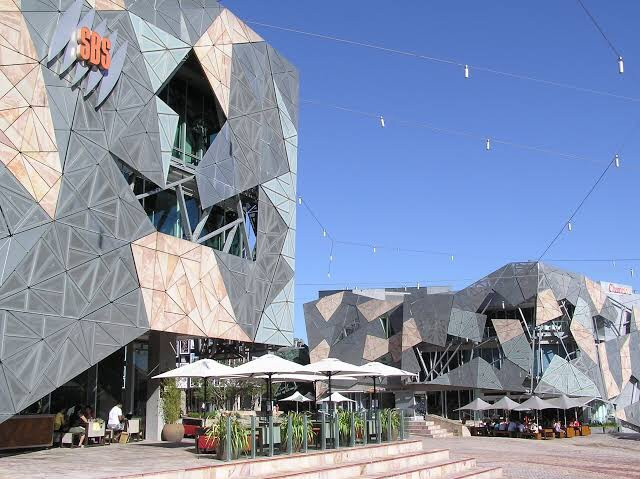 The SBS building at Federation Square on a sunny day