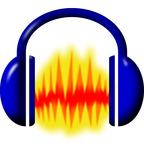 Audacity logo. An image representing a sound file that is the colour of flames, surrounded by a pair of headphones.