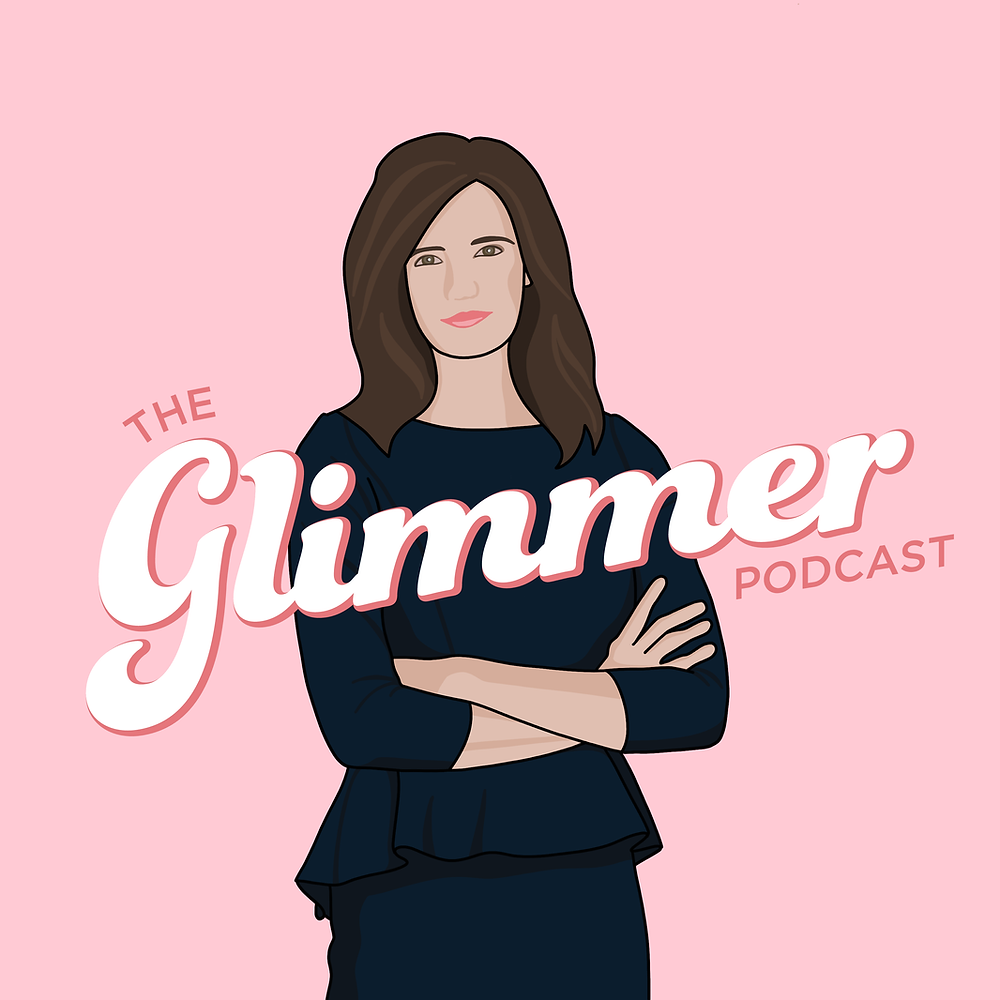"A cartoonised woman stands with her arms crossed, smiling and facing the camera. There's a pink background and text that reads ""The Glimmer Podcast"""