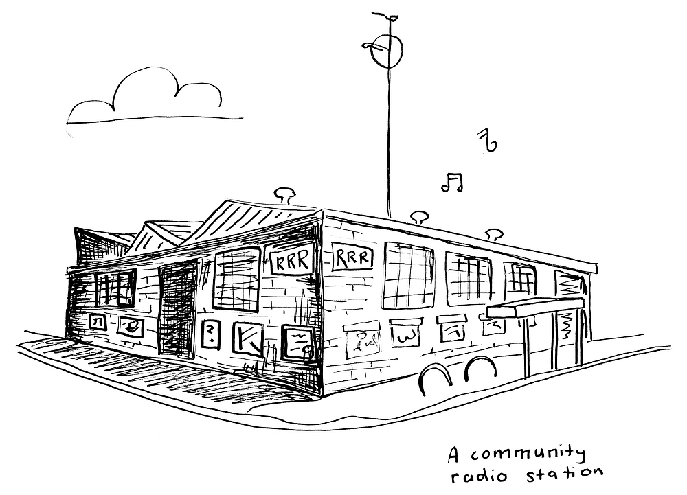A black and white hand drawn picture of the RRR building, with music coming out of it