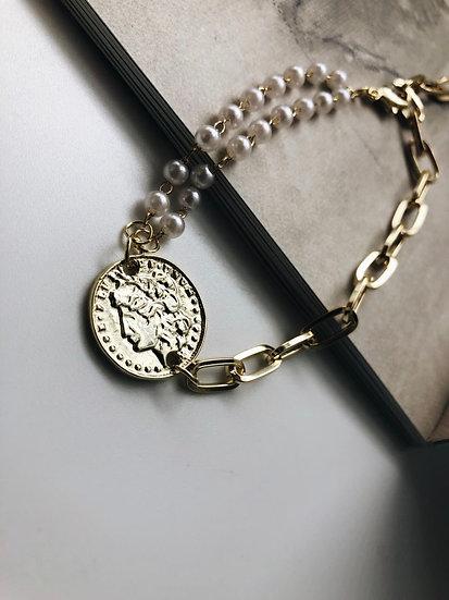 Браслет монета с покрытием из чистого золота