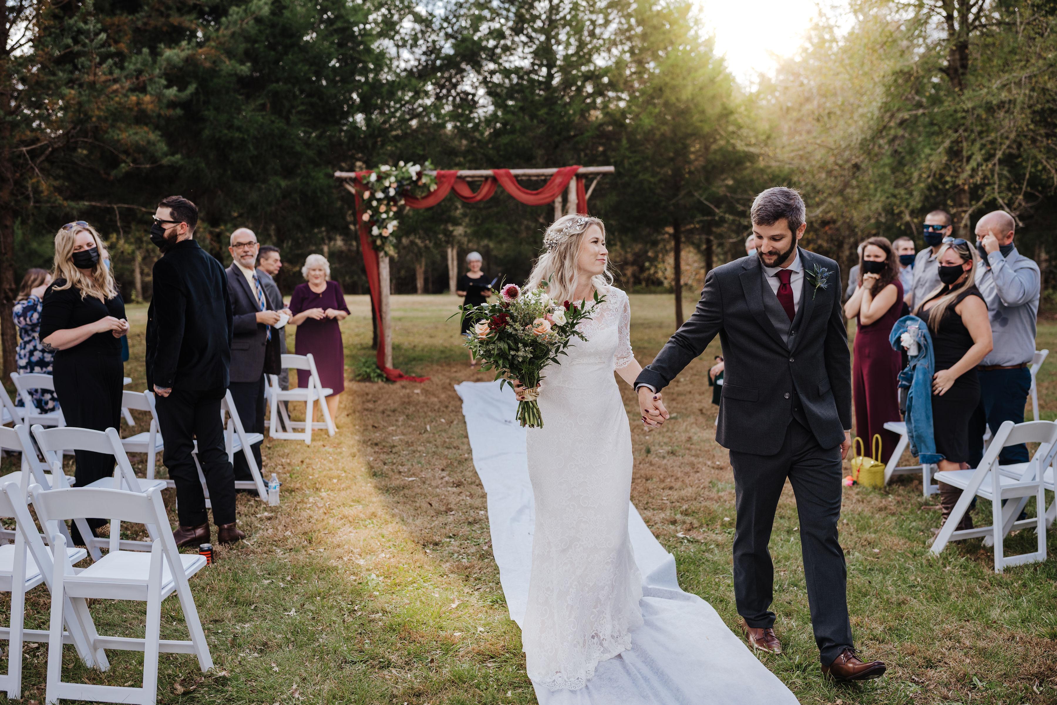 sunset wedding ceremony at small intimate wedding