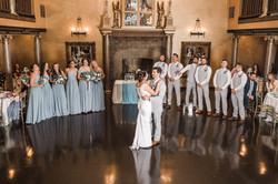bride and groom first dance. wedding dress bustle, bride bustle
