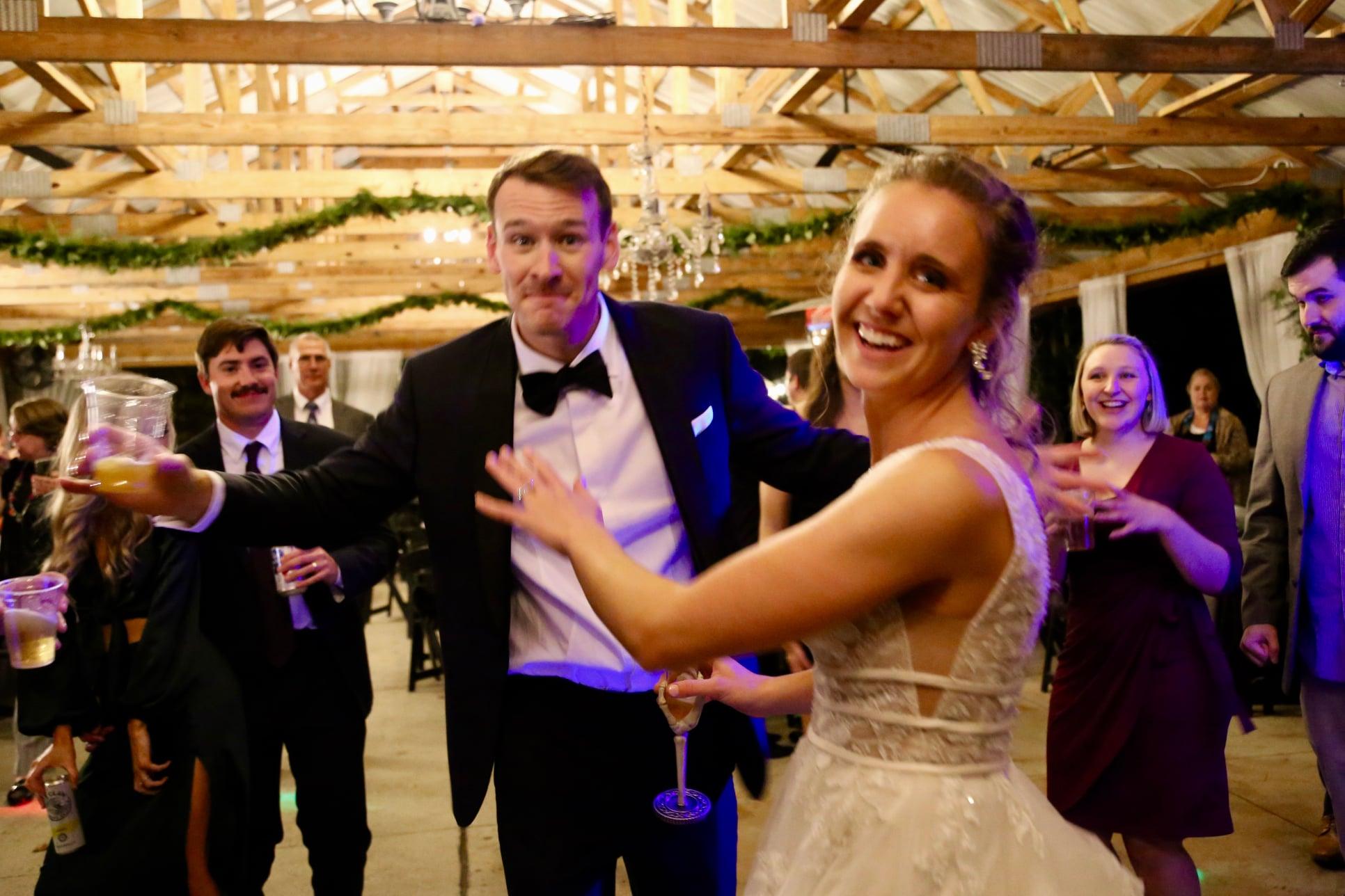 princess bride reception dress in downtown Raleigh farm wedding venue