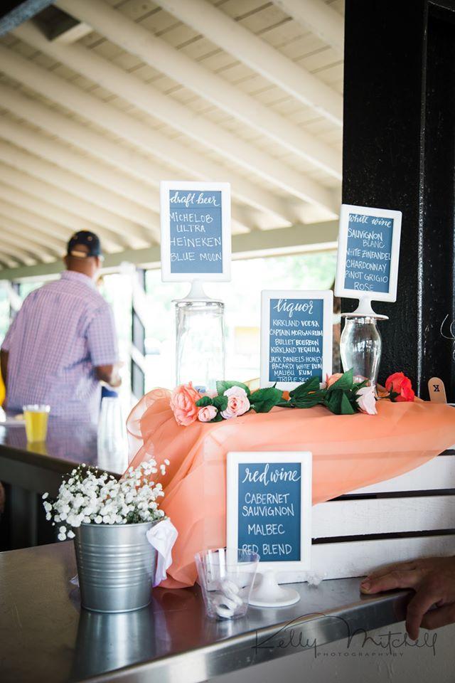 chalkboard bar menu at maryland wedding venue, outdoor wedding venue, public park wedding venue, blu