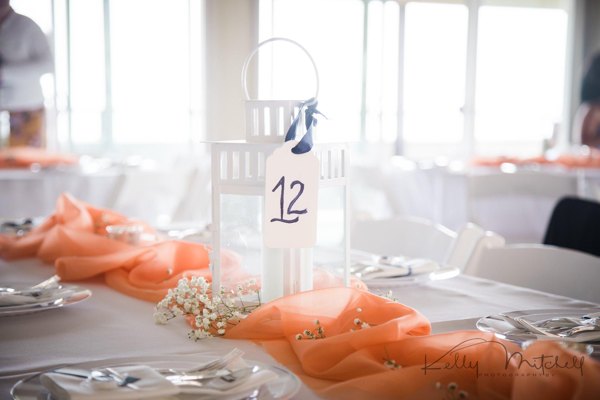 white lantern wedding centerpiece, coral color pallete, eastern shore wedding venue, annapolis weddi