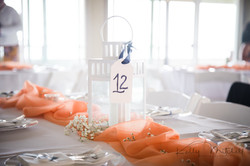 white lantern wedding centerpiece, coral color pallete, eastern shore wedding venue, annapolis weddi