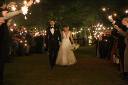 wedding day strut as mr and mrs with sparkler exit