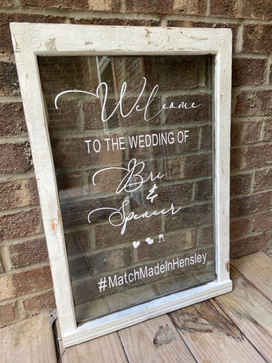 Custom White Frame Farmhouse Welcome window