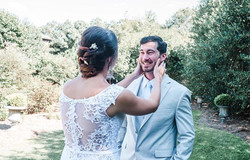 first look with bride and groom, light and airy wedding, timeline for wedding day