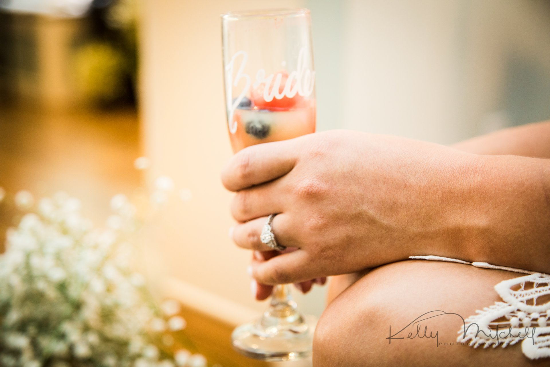 engagement ring, fresh fruit mimosa wedding morning babysbreath diy flowers
