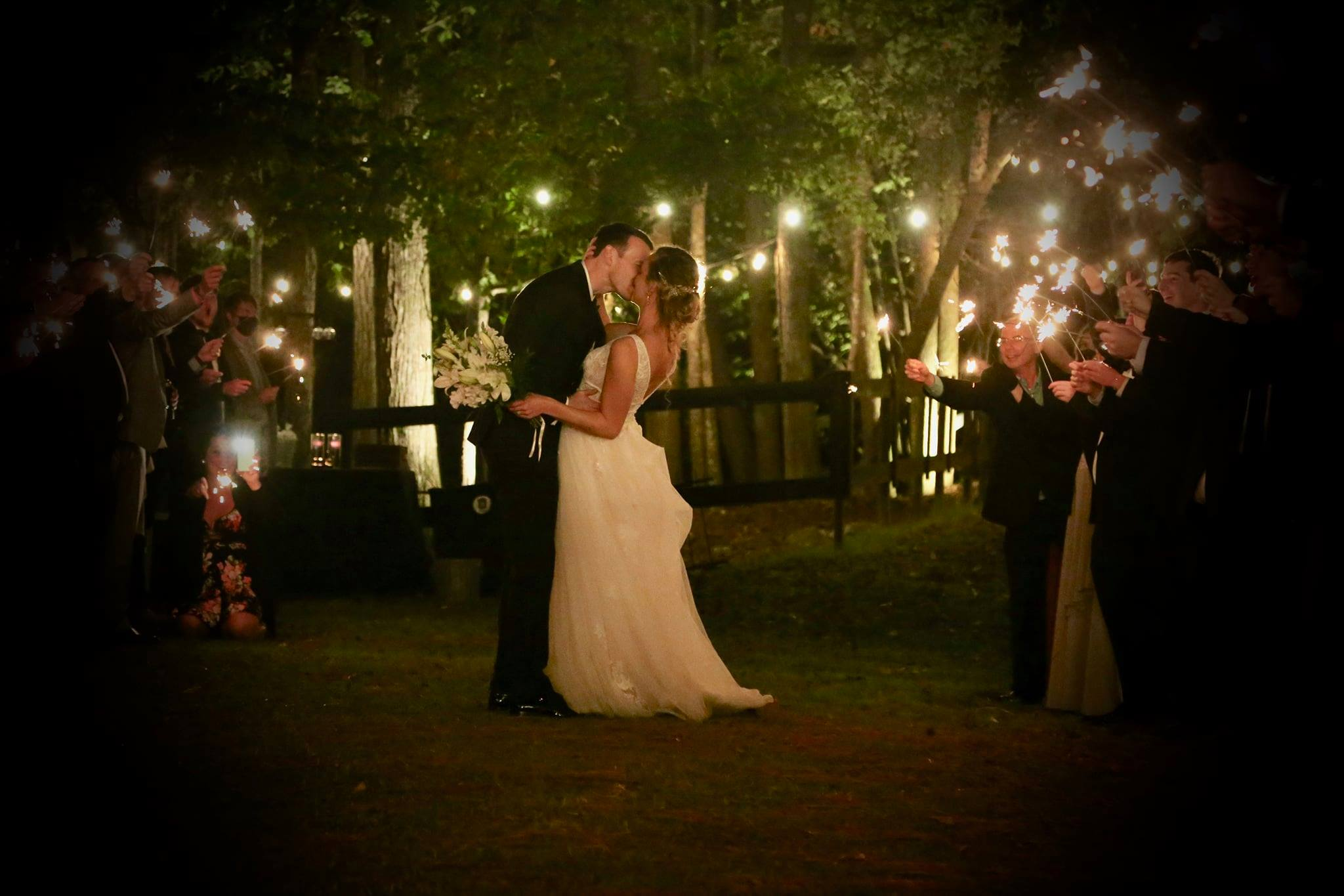 sparkler exit at farm wedding venue in raleigh north carolina