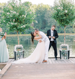 unique wedding ceremony arbor for lake wedding